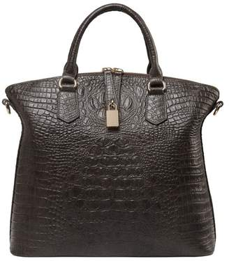 Vicenzo Leather Dione Croc Embossed Top Handle Leather Tote