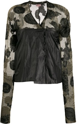 Romeo Gigli Pre-Owned 1990s Abstract Print Sheer Panels Blouse