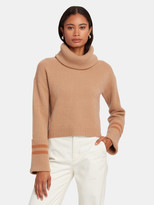Naadam Oversized Turtleneck Striped Cropped Pullover
