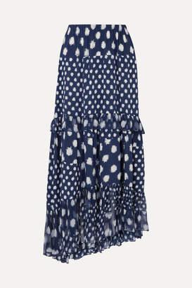 Diane von Furstenberg Tiered Ruffled Printed Silk-chiffon Maxi Skirt - Navy