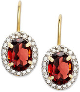 Townsend Victoria 18k Gold over Sterling Silver Earrings, Garnet (2-1/2 ct. t.w.) and Diamond Accent Bezel Leverback Earrings