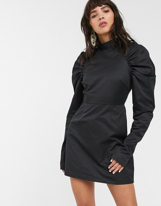 Glamorous mini shift dress with structured puff sleeves