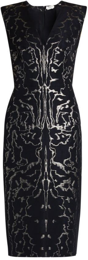 Alexander McQueen V-Neck Brocade-Print Sheath Dress