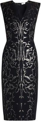 Alexander McQueen V-Neck Brocade-Print Sheath Dress