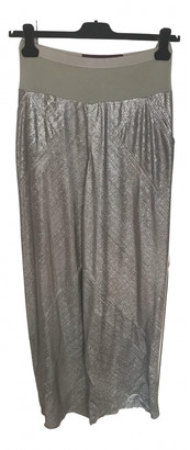 Rick Owens Lilies Silver Polyester Trousers