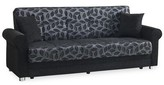 """Amman Chenille 86"""" Rolled Arms Sleeper Winston Porter Upholstery Color: Black"""