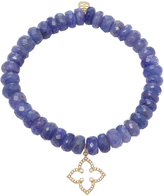 Sydney Evan Micro Pave Moroccan Star Charm on Faceted Blue Tanzanite Beads