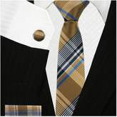 Bestow Neckties Plaid Skinny Tie with Cufflinks & Hanky