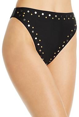 Dolce Vita Studded High-Waist Bikini Bottom
