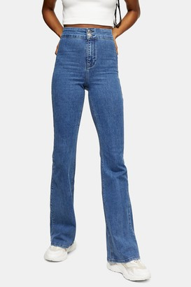 Topshop Womens Three Stretch Flare Skinny Jeans - Mid Stone
