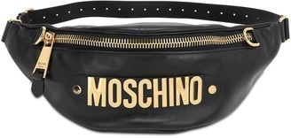 Moschino Metal Logo Leather Belt Bag