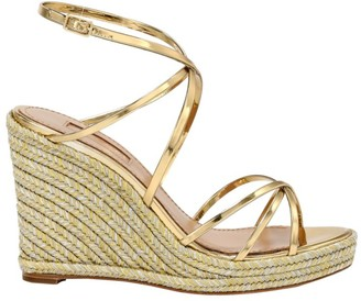 Aquazzura Gin Metallic Leather Espadrille Wedge Sandals