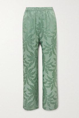 LOVE Stories Billy Satin-jacquard Pajama Pants - Jade
