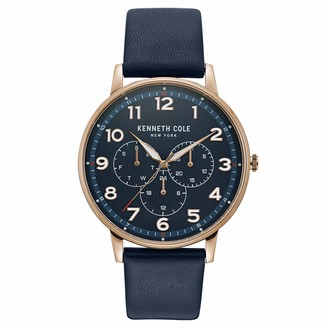 Kenneth Cole New York Male Stainless Steel Quartz Watch with Leather Strap Blue 20 (Model: KC50801003)