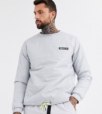 Ellesse Anat quilted ripstop crew neck sweat in gray exclusive at ASOS