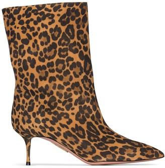 Aquazzura Very Boogie 60mm leopard print boots