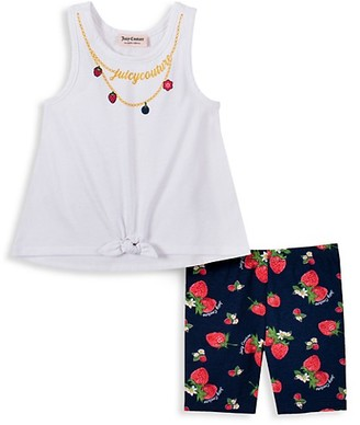Juicy Couture Little Girl's 2-Piece Necklace Graphic Tank Top Strawberry-Print Shorts Set