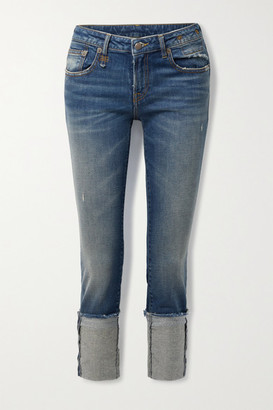 R13 - Kate Cropped Distressed Low-rise Skinny Jeans - Mid denim