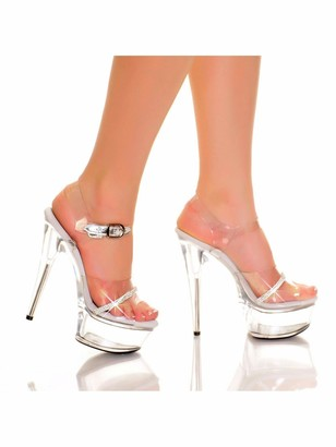"The Highest Heel AMBER-861-RS 6"" Ankle Strap Platform Sandals with Rhinestone Trim"