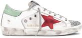 Golden Goose Superstar Sneaker in White Leather, Silver Glitter & Red   FWRD