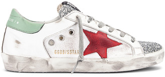 Golden Goose Superstar Sneaker in White Leather, Silver Glitter & Red | FWRD