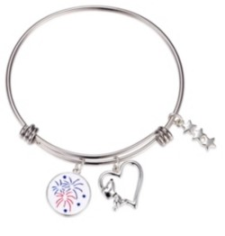 """Peanuts Snoopy"""" Americana Fireworks Heart Adjustable Bangle Bracelet in Stainless Steel for Unwritten Silver Plated Charms"""