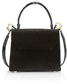 Nancy Gonzalez Women's Mini Lily Leather-Trimmed Velvet Top Handle Bag