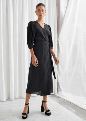And other stories Silk Puff Sleeve Midi Wrap Dress