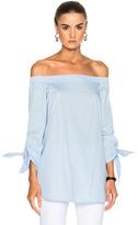 Tibi Poplin Off the Shoulder Tunic in Blue.