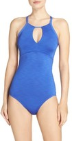 Nike Women's Iconic Heather High Neck One-Piece Swimsuit
