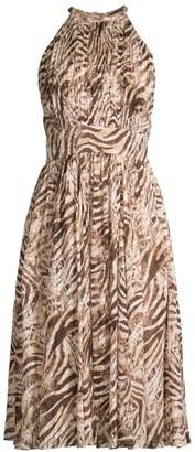 Elie Tahari Dominica Animal Print Halterneck Dress