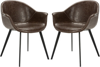 Safavieh Dublin Midcentury Modern Leather Dining Tub Chair