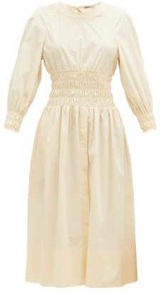 Three Graces London Arianna Shirred Cotton-poplin Dress - Womens - Cream