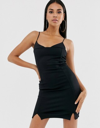 Asos Design DESIGN strappy cami mini dress with split hem detail-Black