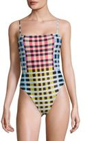 Mara Hoffman One-Piece Plaid High-Cut Swimsuit