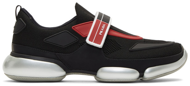 Prada Black and Red Knit Cloudbust Sneakers