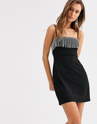 Bershka cami dress with sequins in black