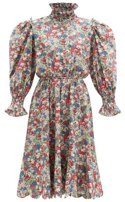 Horror Vacui Collia Smocked Floral-print Cotton Dress - Multi