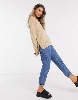 New Look crew neck jumper in camel
