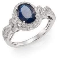 Effy 14K White Gold, Sapphire & Diamond Ring