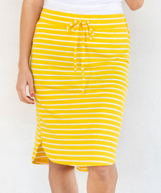 Tickled Teal Women's Casual Skirts Yellow - Yellow Stripe Side-Slit Drawstring Skirt - Women