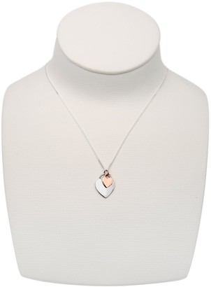 The Love Silver Collection Sterling Silver & Rose Gold Plated Double Heart Pendant Necklace