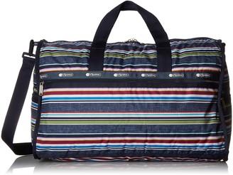 Le Sport Sac Indigo Stripe Large Weekender Overnighter Bag Travel Duffel