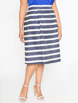 ELOQUII Striped Midi Circle Skirt