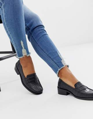 Asos Design DESIGN Marley 90's leather loafer flat shoes in black