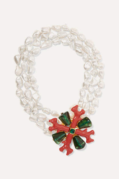 Kenneth Jay Lane Layered Gold-tone, Enamel, Crystal And Faux Pearl Necklace - White