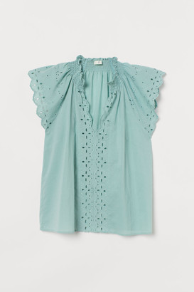 H&M Eyelet Embroidery Blouse - Green