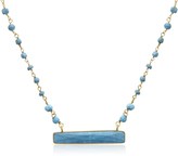 25 CT TW Turquoise 14K Gold-Plated Sterling Silver Bar Necklace by Sundar Gems