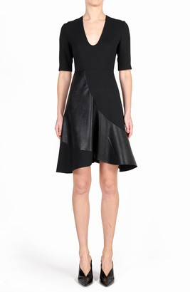 Stella McCartney Faux Leather & Wool Fit & Flare Dress