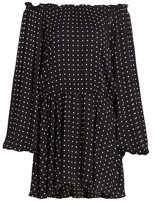 Rotate by Birger Christensen Carly Off-The-Shoulder Polka Dot Blouson Dress